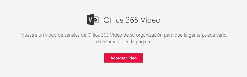 Captura de pantalla del cuadro de diálogo Agregar vídeo de Office 365 en SharePoint.
