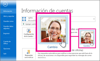 Cambiar mi imagen de Office desde Outlook