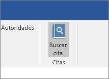 Captura de pantalla que muestra una sección de la cinta de opciones de Office con el comando Buscar citas resaltado en el complemento Citas.