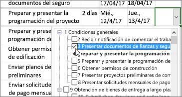 Plan de proyecto con una lista desplegable que contiene tareas