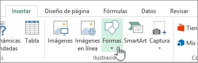 Botón de formas de insertar de Excel