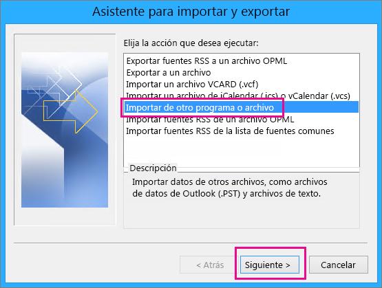 Elija importar el correo electrónico desde otro programa o archivo