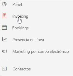 Captura de pantalla: Haga clic en el icono para obtener acceso al panel de Invoicing