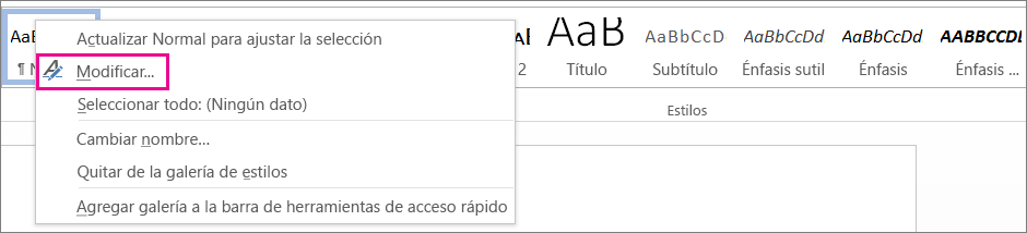 Opción Modificar estilo de Word