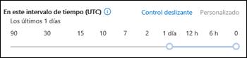 Un Intervalo de tiempo de control deslizante en un seguimiento de mensajes nuevo en el Centro de seguridad y cumplimiento de Office 365