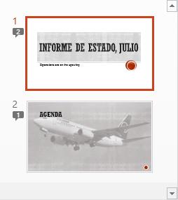 Los símbolos con numerales indican la presencia de comentarios en las diapositivas