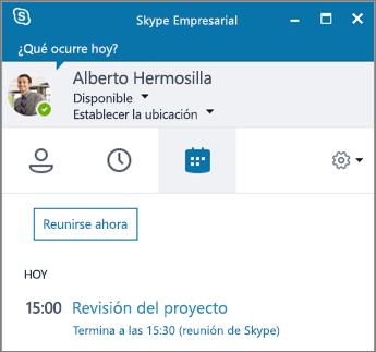 Captura de pantalla de la pestaña Reuniones de la ventana Skype Empresarial.