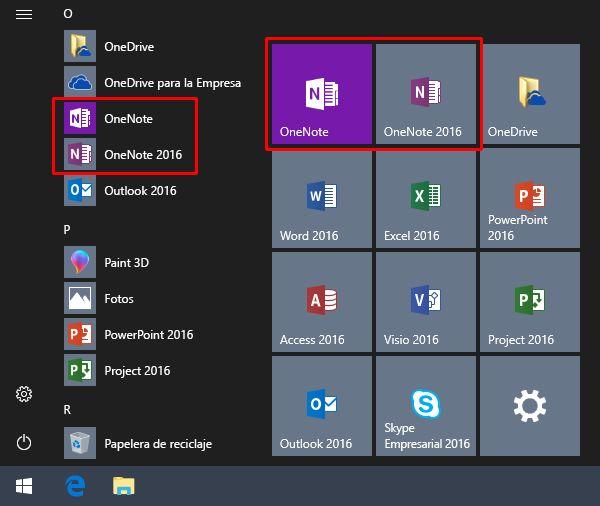 Captura de pantalla del menú Inicio de Windows con OneNote y OneNote 2016.