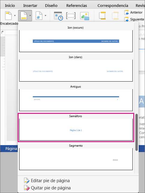 """En la galería de estilos de pie de página, haga clic en Semáforo para agregar el estilo """"Página X de Y""""."""