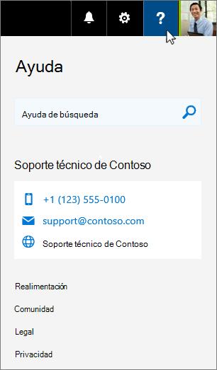 La ayuda personalizada se muestra en la tarjeta de ayuda de Office 365