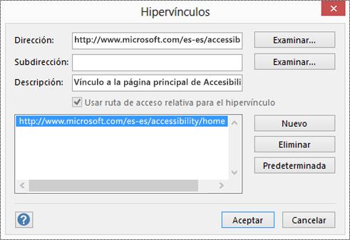 Cuadro de diálogo Hipervínculos para agregar una descripción para un vínculo en Visio.