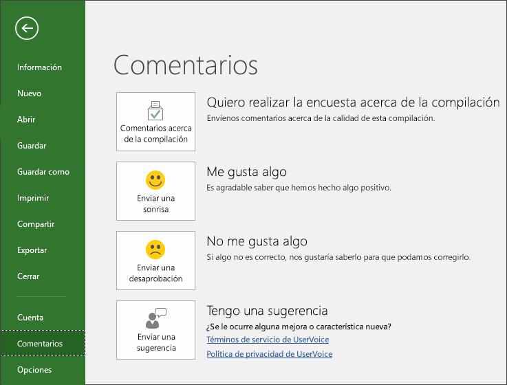 Haga clic en Archivo > Comentarios para ofrecer comentarios o sugerencias sobre Microsoft Project