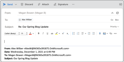 Botón responder en Outlook para Mac.