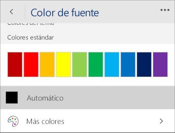 Captura de pantalla del menú Color de fuente con la opción Automático seleccionada.