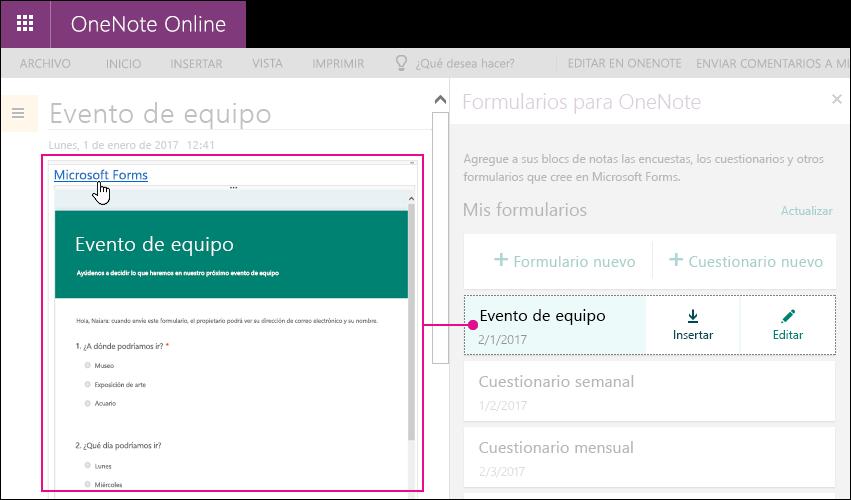 Insertar un formulario de la lista de formularios en los formularios de panel de OneNote