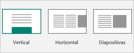 Captura de pantalla de las miniaturas de diseño de Sway.