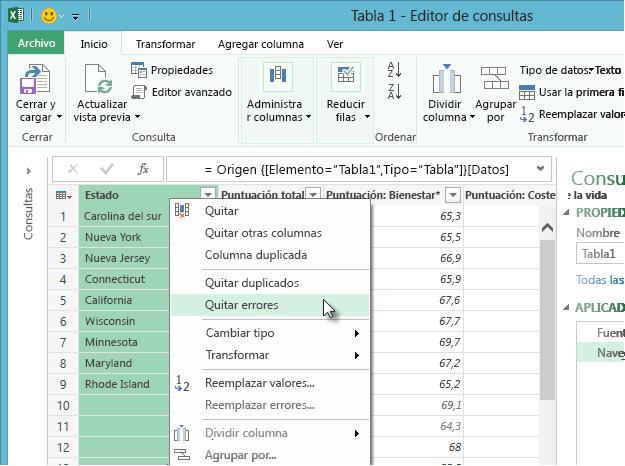 Menú contextual Quitar errores - Editor de consultas