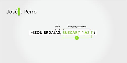 Fórmula para separar un nombre y un apellido más la inicial del segundo nombre
