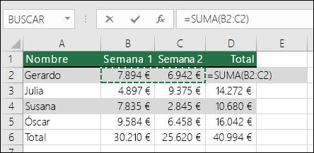 La celda D2 muestra la fórmula de SUMA Autosuma: =SUMA(B2:C2)