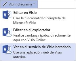 Abrir diagrama, comando Ver en servicio de Visio heredado