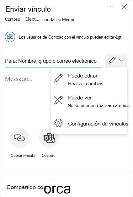 Opciones de permiso para compartir en OneDrive con opciones sólo de edición o visualización.