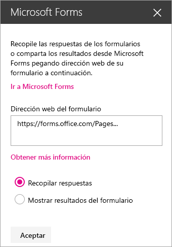 Panel del elemento web Microsoft Forms de un formulario existente.
