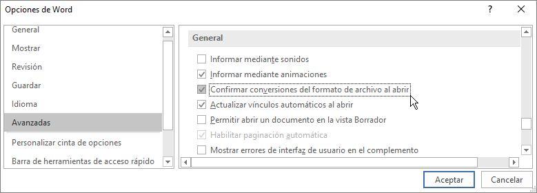 Opción Confirmar conversiones del formato de archivo al abrir
