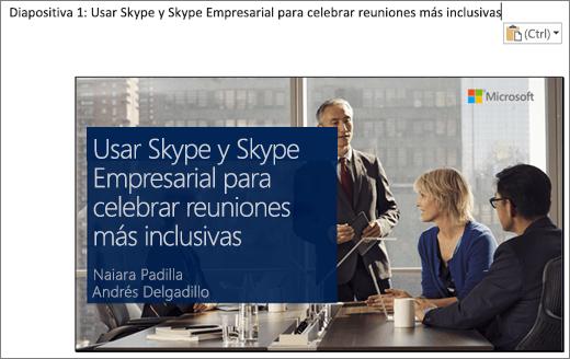 Recorte de pantalla del nuevo documento de Word que muestra la diapositiva 1 con el título de la diapositiva. La diapositiva que se muestra en la imagen contiene el título de la diapositiva, los nombres de los moderadores y una imagen de fondo de las personas de la empresa alrededor de una mesa de conferencias.