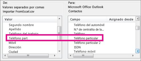 Asignar campos en el archivo de importación a campos de Outlook