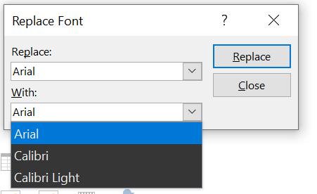 Imagen del cuadro de diálogo Reemplazar fuente de PowerPoint. Muestra el cuadro de diálogo Con lista desplegable expandido.