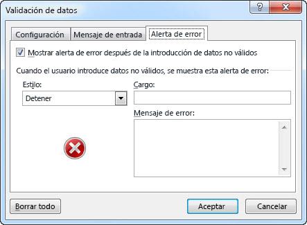 Escriba un mensaje que desee mostrar si la lista desplegable no funciona correctamente en Excel