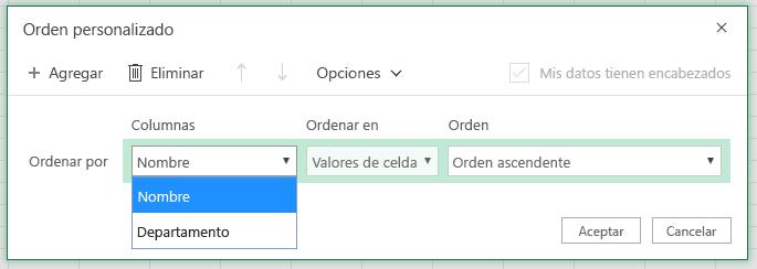 """Cuadro de diálogo de orden personalizado con la ordenación por columna de fila seleccionada en la columna """"Nombre"""""""