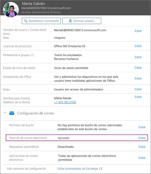 La captura de pantalla muestra la página de perfil de usuario para el usuario denominado Verónica Fuentes con la opción de reenvío de correo electrónico establecida en Aplicada y una opción de edición disponible.