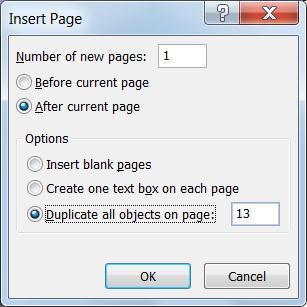 Cuadro de diálogo para insertar una página de Publisher