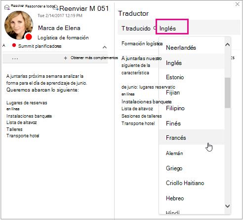 Seleccione el idioma al que va a traducir el texto del mensaje