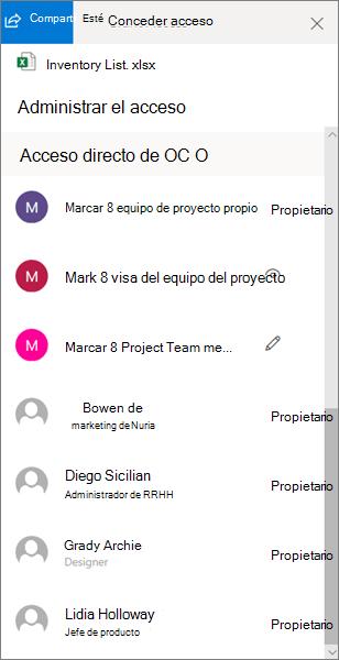 Sección acceso directo del panel administrar acceso en OneDrive para la empresa
