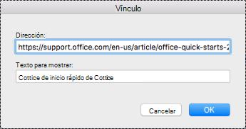 Cuadro de diálogo Hipervínculo en dispositivos Mac.