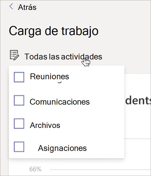 Lista desplegable de Opciones de actividades