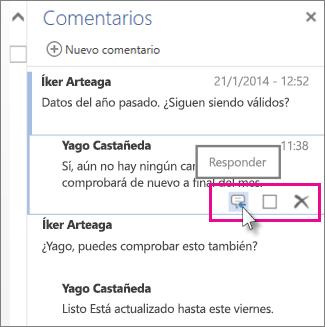 Imagen del comando Responder bajo un comentario en el panel Comentarios en Word Online.