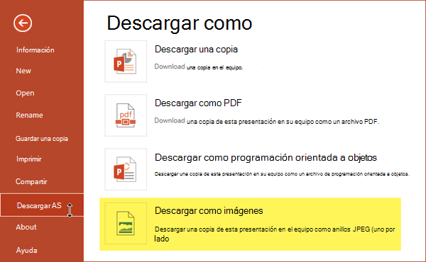 Puede guardar una copia de la presentación como un conjunto de archivos de imagen JPG