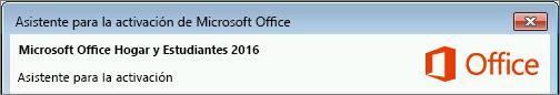 Muestra la versión de Office como aparece en el asistente para la activación.