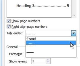 Opción de línea de puntos en el cuadro de diálogo Tabla de contenido