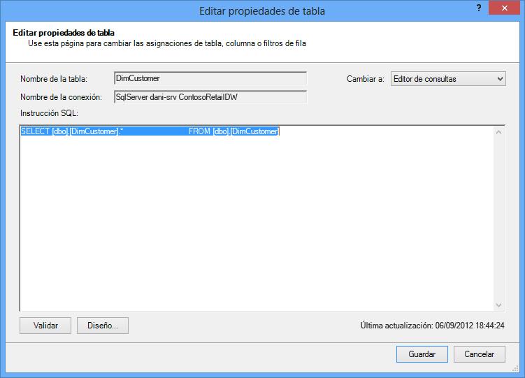 Consulta SQL con la sintaxis predeterminada (más breve)