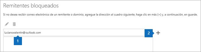 Captura de pantalla de la página de remitentes seguros.