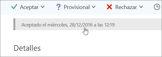 Captura de pantalla que muestra que se ha aceptado el evento de calendario.