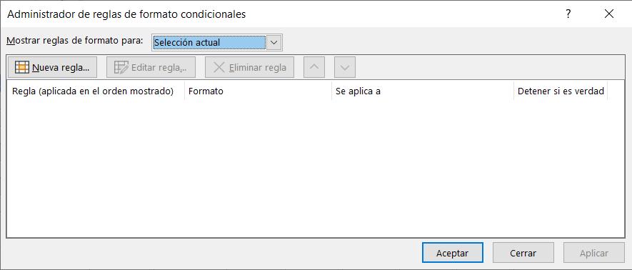 Cuadro de diálogo Administrador de reglas de formato condicionales