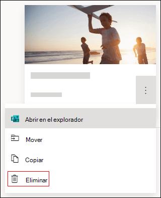 Opción eliminar en un formulario en Microsoft Forms.