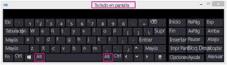 Teclado en pantalla de Windows 8 con teclas ALT
