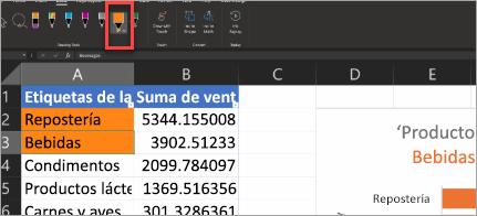 Lápiz de acción de la presentación en Excel
