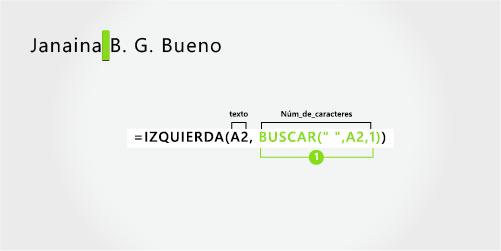Fórmula para separar nombre, apellido y dos iniciales del segundo nombre